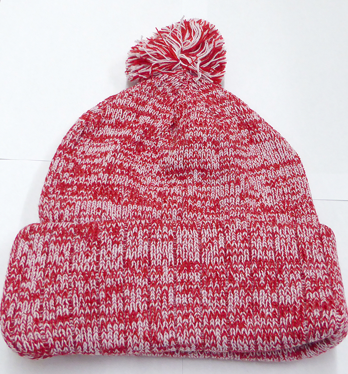 Knit Pom Pom Beanies Trendy Winter Hats - Mixed White and Red a14182cf8b0