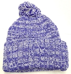 Knit Pom Pom Beanies Trendy Winter Hats - Mixed White and Royal