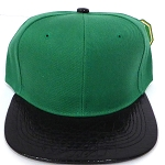 Wholesale Blank Alligator Snapback Hats Caps - Kelly Green | Black (40 pcs left)