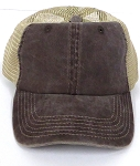 Pigment Dyed  Mesh Plain Baseball Cap - Clip Buckle -Brown Khaki