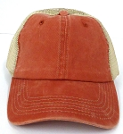 Pigment Dyed  Mesh Plain Baseball Cap - Clip Buckle -Orange Khaki
