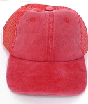 Pigment Dyed  Mesh Plain Baseball Cap - Clip Buckle -Red
