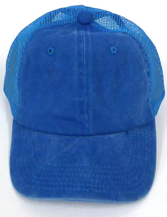 Pigment Dyed Mesh Plain Baseball Cap - Clip Buckle -Turquoise Blue d35065aca31
