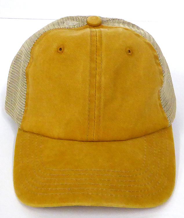 Pigment Dyed Mesh Plain Baseball Cap - Clip Buckle -Yellow Gold e949027bad1