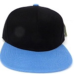 KIDS Jr. Plain Snapback Caps Wholesale -  Black Sky Blue