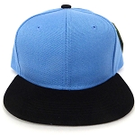 KIDS Jr. Plain Snapback Caps Wholesale -  Sky Blue  Black