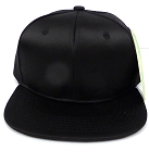 KIDS Jr. Plain Silk  Snapback Caps Wholesale -  Black