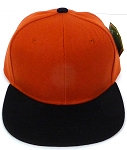 KIDS Jr. Plain   Snapback Caps Wholesale -   Texas Orange Black