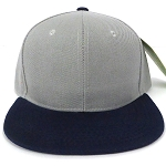 Blank Snapback Hats & Caps Wholesale - L. Grey | Navy Brim