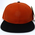 Blank Snapback Hats & Caps Wholesale -Texas Orange   Black