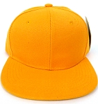 KIDS Jr. Plain Snapback Caps Wholesale - Golden Yellow