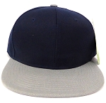 Blank Snapback Hats & Caps Wholesale - Navy L. Grey Brim