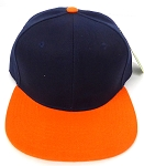 Blank Snapback Hats & Caps Wholesale - Navy | Orange Brim