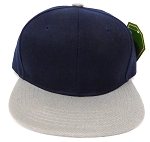 KIDS Jr. Plain Snapback Caps Wholesale - Navy  L Grey