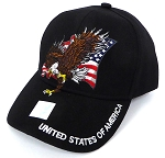Wholesale USA Patriotic Eagle Baseball Cap - Black
