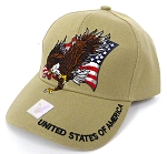 Wholesale USA Patriotic Eagle Baseball Cap -Khaki