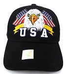 Wholesale USA Patriotic Eagle Baseball Cap -Black