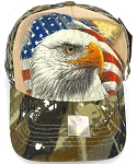 Wholesale USA Patriotic Eagle Baseball Cap -Hunting  Camo (khaki)