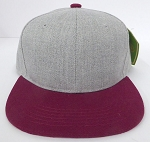 KIDS Junior Wholesale Blank Snapback Hats  - Denim Grey I Burgundy