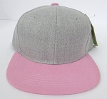KIDS Junior Wholesale Blank Snapback Hats  - Denim Grey I L. Pink