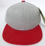 KIDS Junior Wholesale Blank Snapback Hats  - Denim Grey I Red