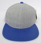 KIDS Junior Wholesale Blank Snapback Hats  - Denim Grey I Royal Blue