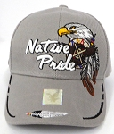 Wholesale Native Pride Baseball Cap - Eagle and Two Feathers - L Grey