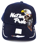 Wholesale Native Pride Baseball Cap - Eagle and Two Feathers - Navy