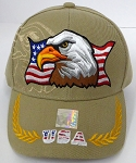 Wholesale USA Patriotic Eagle Baseball Cap - Khaki
