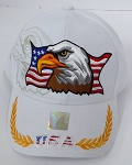Wholesale USA Patriotic Eagle Baseball Cap -White