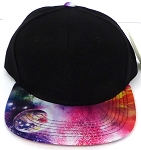 KIDS Junior Wholesale Blank Snapback Hats  - Black Multi Galaxy-05