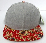 Wholesale Light Grey Denim Snapback Caps - Paisley -   RED