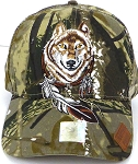 Wholesale Native Pride Baseball Cap - Dreamcatcher of Wolf - Camo