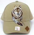 Wholesale Native Pride Baseball Cap - Dreamcatcher of Wolf - Khaki