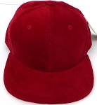 KIDS Junior Wholesale Corduroy Blank Snapback Caps - Solid -  Red