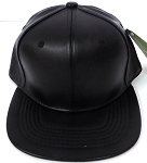 KIDS Junior Wholesale Faux Leather  Blank Snapback Hats  -   Black