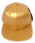 KIDS Junior Wholesale Faux Leather  Blank Snapback Hats  -   Gold