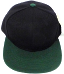 KIDS Junior Wholesale Blank Snapback Hats  - Black I D Green