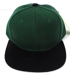 KIDS Junior Wholesale Blank Snapback Hats  -  D Green I Black