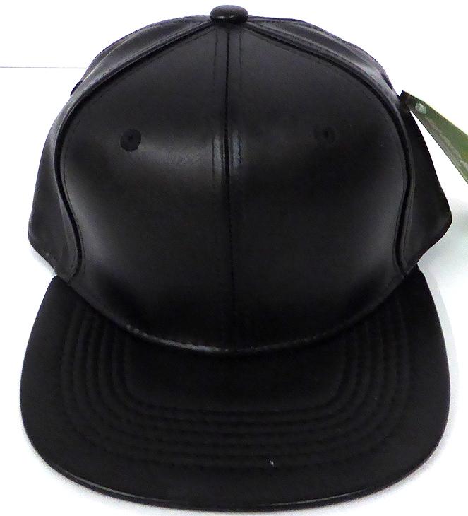 62cefbb01 KIDS Junior Wholesale Faux Leather Blank Snapback Hats - Black