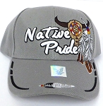 Wholesale Native Pride Baseball Cap - Buffalo Skull - Grey