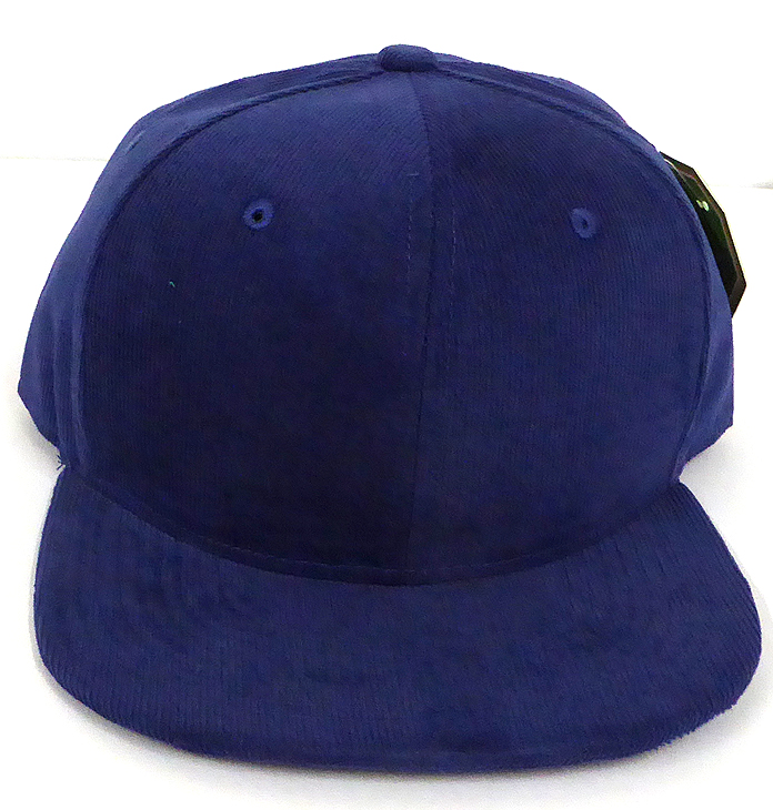 d675349971245 Wholesale Corduroy Blank Snapback Caps - Solid - BLUE