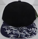 Wholesale Blank Floral Snapback Hats - Hawaiian Flower Silkscreen Print 2 D Navy