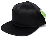 INFANT Baby Blank Snapback Hats & Caps Wholesale - Solid SILK  Black