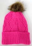 Wholesale Winter Fashion Fur Pom Pom Knit Beanies -Hot Pink