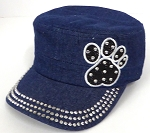 Wholesale Rhinestone Cadet Hats - Paw - Dark Denim