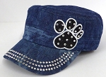 Wholesale Rhinestone Castro Caps - Black Paw -Splash Dark Denim
