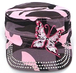Rhinestone Butterfly Cadet Hats Wholesale - Pink Camo