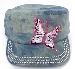 Rhinestone Butterfly Cadet Hats Wholesale - Splash L Denim