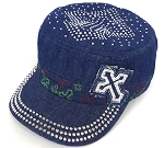 Rhinestone Cross  Cadet Hats Wholesale - Dark Denim